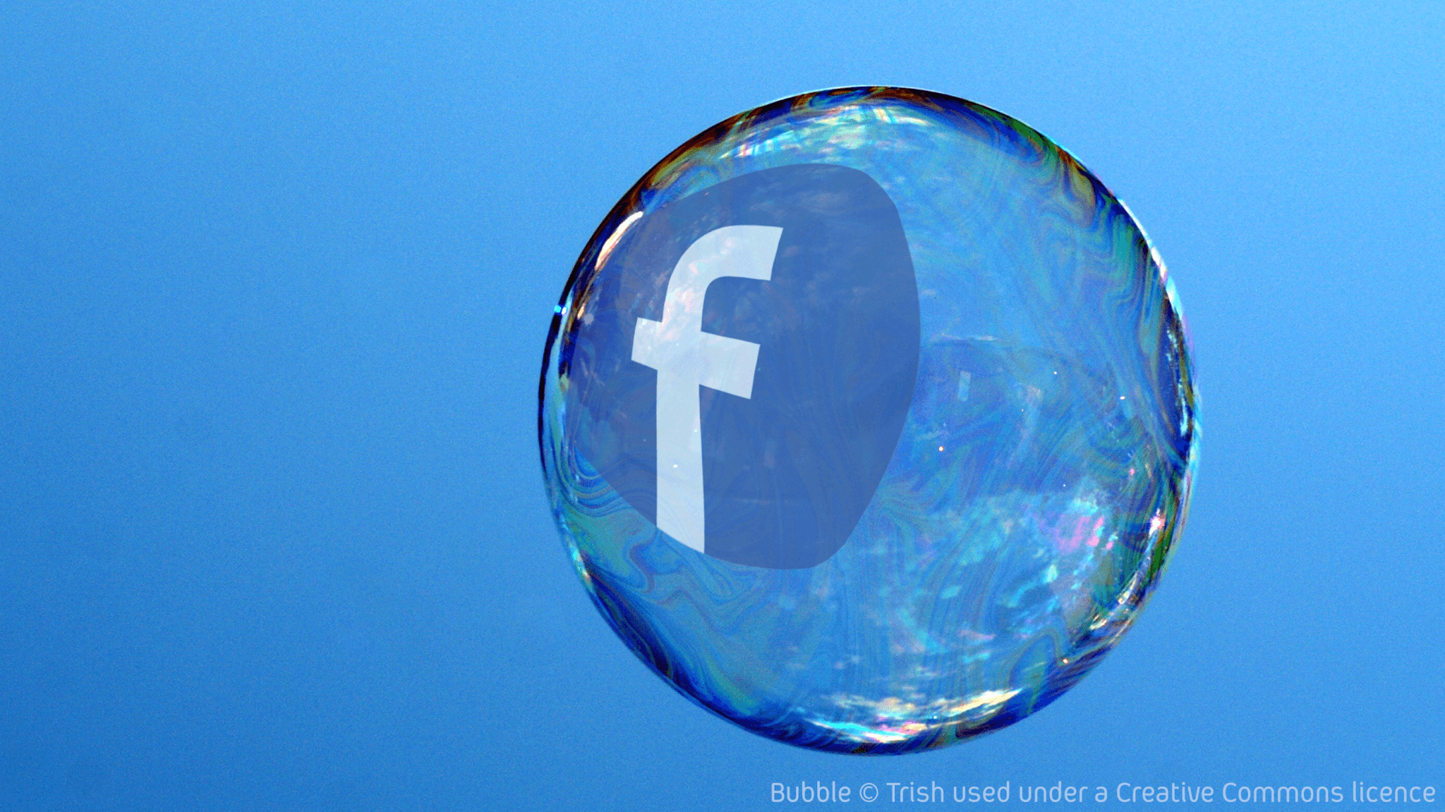 Facebook filter bubble. Original bubble © Trish, used under . Creative Commons by-cc-by-nc-sa-2-0 licence. Facebook logo added by Tony Watkins. May be reshared under a CC-BY-NC-SA-2.0 licence.